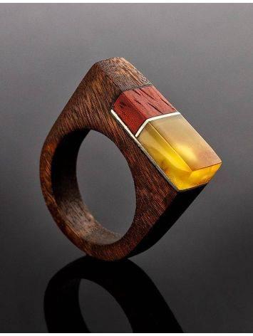 Оригинальное деревянное кольцо с натуральным янтарём «Индонезия», Размер кольца: 18.5, фото , изображение 2