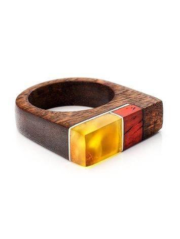Оригинальное деревянное кольцо с натуральным янтарём «Индонезия», Размер кольца: 18.5, фото , изображение 3