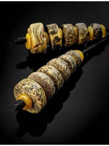 Оригинальное колье «Индонезия» из кожи и натурального балтийского янтаря, фото , изображение 3