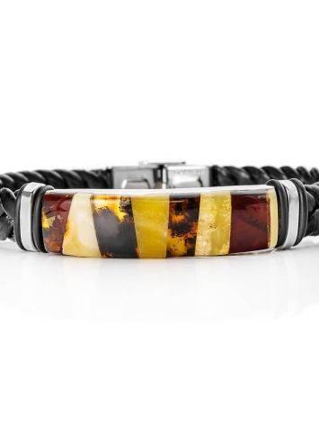 Мужской браслет с янтарной мозаикой «Сильверстоун», фото , изображение 4