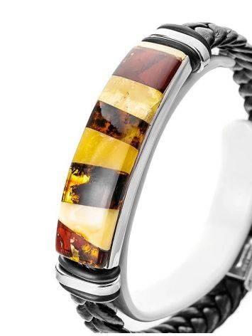 Мужской браслет с янтарной мозаикой «Сильверстоун», фото , изображение 2