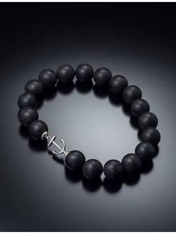 Сильный браслет-унисекс из чёрного янтаря с якорем «Куба», фото , изображение 2