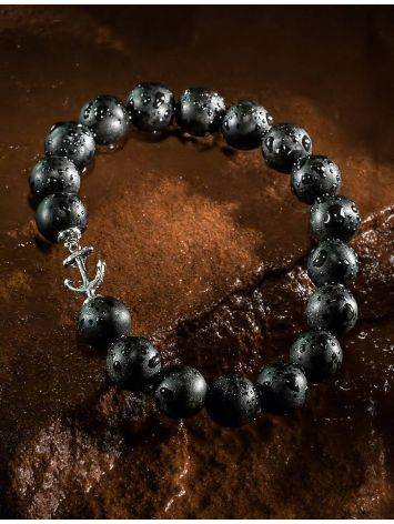Сильный браслет-унисекс из чёрного янтаря с якорем «Куба», фото , изображение 4