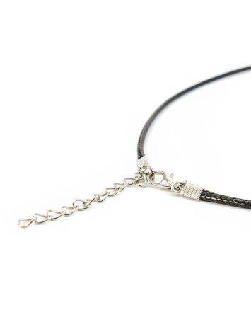 Черный текстильный плетеный шнурок для подвесок на застежке-карабине, фото , изображение 6