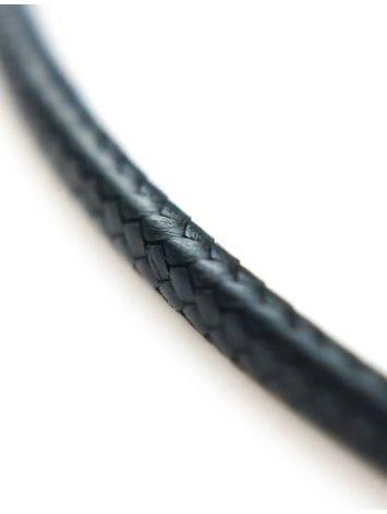 Черный текстильный плетеный шнурок для подвесок на застежке-карабине, фото , изображение 2