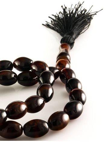 Глянцевые мусульманские чётки на 33 бусины-оливки из натурального формованного янтаря, фото , изображение 2