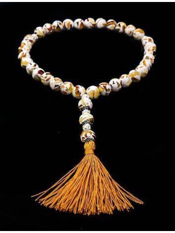 Чётки мусульманские на 33 бусины из натурального янтаря «Далматин», фото , изображение 2