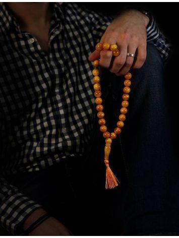 Мусульманские четки из формованных янтарных шаров, фото , изображение 6