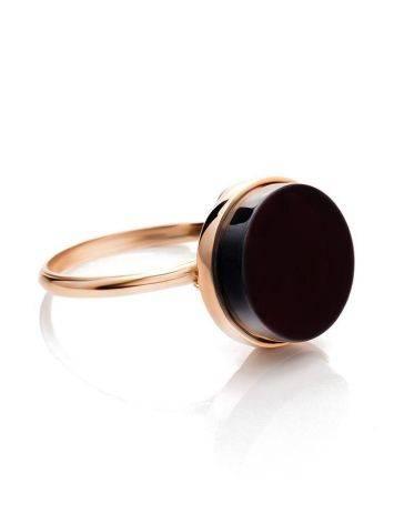 Стильное кольцо «Фурор» из позолоченного серебра с янтарём вишнёвого цвета б/р, Размер кольца: б/р, фото , изображение 4