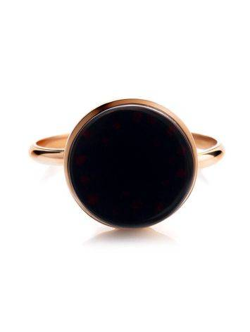 Стильное кольцо «Фурор» из позолоченного серебра с янтарём вишнёвого цвета б/р, Размер кольца: б/р, фото , изображение 5