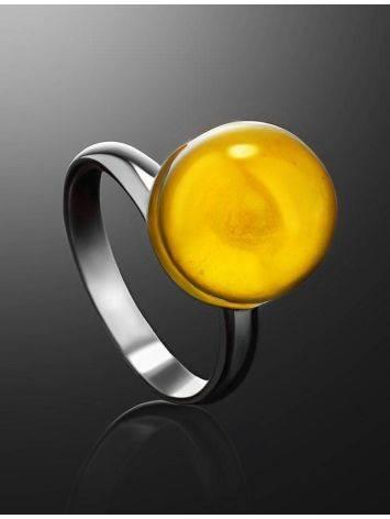 Стильное кольцо «Париж» из серебра и натурального балтийского янтаря, Размер кольца: б/р, фото , изображение 2