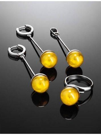 Стильное кольцо «Париж» из серебра и натурального балтийского янтаря, Размер кольца: б/р, фото , изображение 5