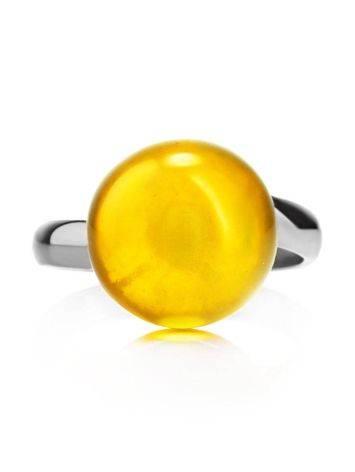 Стильное кольцо «Париж» из серебра и натурального балтийского янтаря, Размер кольца: б/р, фото , изображение 4