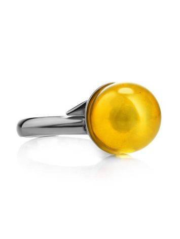 Стильное кольцо «Париж» из серебра и натурального балтийского янтаря, Размер кольца: б/р, фото , изображение 3