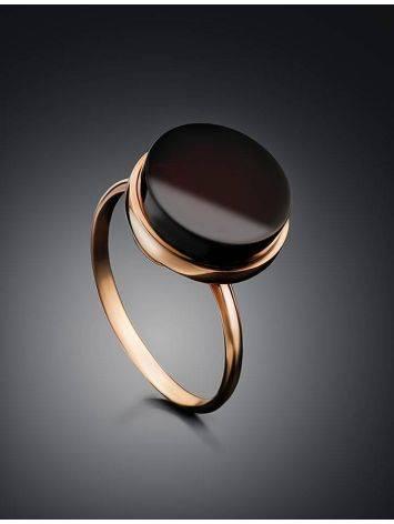 Стильное кольцо «Фурор» из позолоченного серебра с янтарём вишнёвого цвета б/р, Размер кольца: б/р, фото , изображение 2