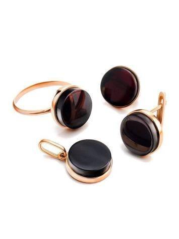 Стильное кольцо «Фурор» из позолоченного серебра с янтарём вишнёвого цвета б/р, Размер кольца: б/р, фото , изображение 6