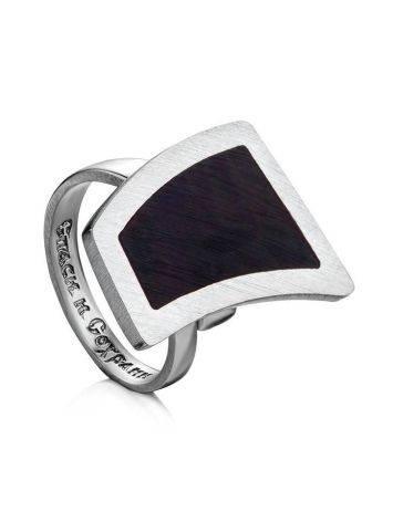 Кольцо из серебра и натурального тёмного янтаря London с молитвой «Спаси и сохрани» б/р, Размер кольца: б/р, фото