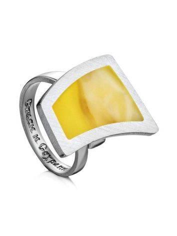 Кольцо London из серебра и натурального янтаря с молитвой «Спаси и сохрани» б/р, Размер кольца: б/р, фото