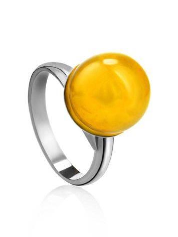 Стильное кольцо «Париж» из серебра и натурального балтийского янтаря, Размер кольца: б/р, фото