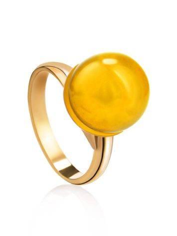 Стильное кольцо с натуральным балтийским янтарём лимонного цвета «Париж» б/р, Размер кольца: б/р, фото
