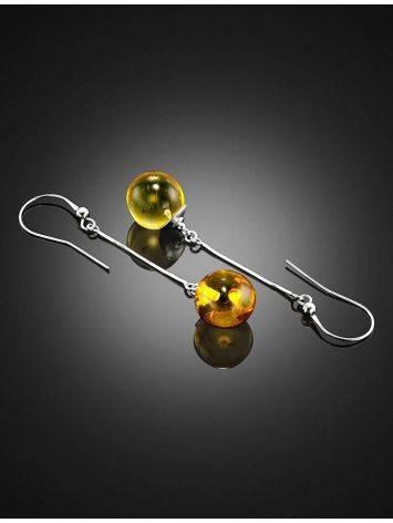 Удлинённые серьги на крючках из серебра и янтаря с насекомыми «Клио», фото , изображение 2