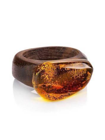 Эффектное кольцо из древесины ореха со вставкой из натурального янтаря «Индонезия» 16.5, Размер кольца: 16.5, фото , изображение 3
