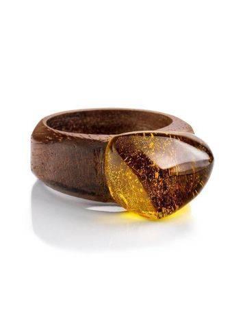 Кольцо в этническом стиле из древесины ореха со вставкой из цельного янтаря «Индонезия» 17.5, Размер кольца: 17.5, фото , изображение 3