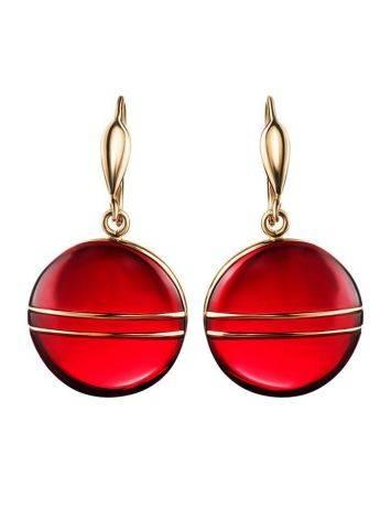 Эффектные золотые серьги «Сангрил» с ярко-красным янтарём, фото , изображение 5