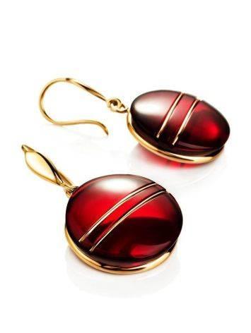 Эффектные золотые серьги «Сангрил» с ярко-красным янтарём, фото , изображение 4