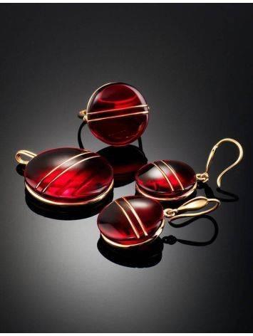 Эффектные золотые серьги «Сангрил» с ярко-красным янтарём, фото , изображение 6