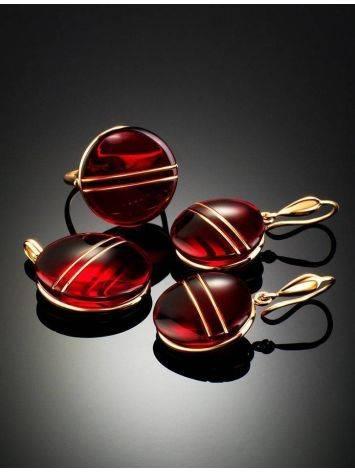 Эффектные золотые серьги «Сангрил» с ярко-красным янтарём, фото , изображение 7
