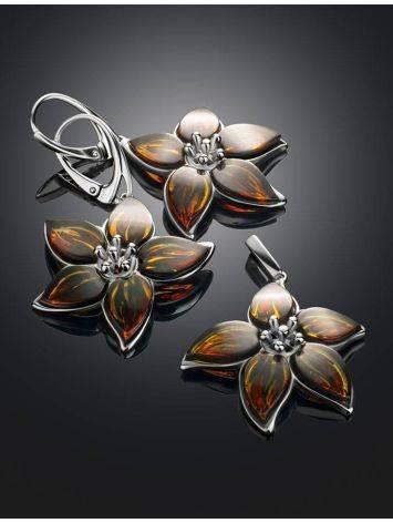 Изысканные серьги «Апрель» из серебра и натурального цельного янтаря, фото , изображение 4