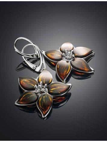 Изысканные серьги «Апрель» из серебра и натурального цельного янтаря, фото , изображение 2