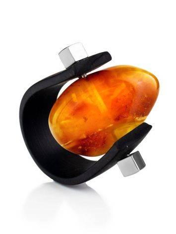Необычное кольцо из каучука и натурального янтаря с природной текстурой «Сильверстоун» 23, Размер кольца: 23, фото