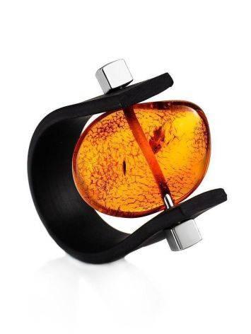 Оригинальное каучуковое кольцо «Сильверстоун» с натуральным цельным янтарём 23, Размер кольца: 23, фото