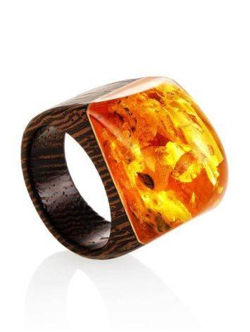 Оригинальное кольцо из дерева с натуральным переливающимся янтарём «Индонезия» 19.5, Размер кольца: 19.5, фото