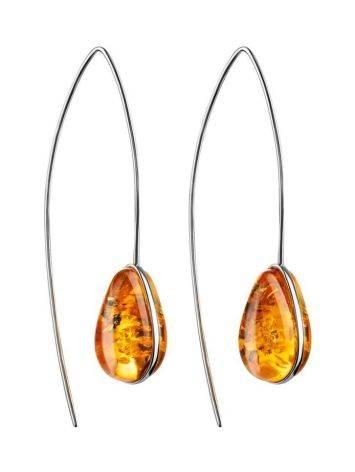 Серебряные серьги-крючки с золотистым янтарём «Импульс», фото