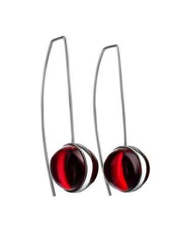 Серьги «Сорбонна» из серебра с роскошным ярко-красным янтарём, фото