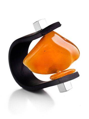 Яркое кольцо «Сильверстоун» с натуральным цельным янтарём 22, Размер кольца: 22, фото
