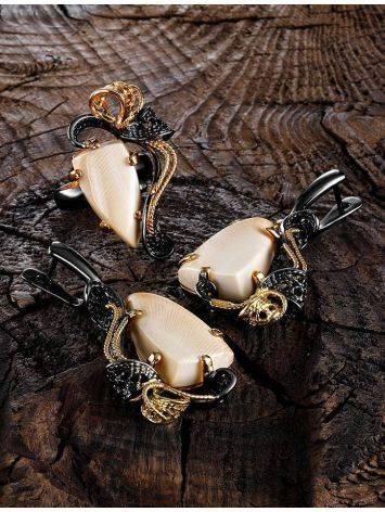 Элегантные серьги из чернённого серебра с костью мамонта «Эра», фото , изображение 4