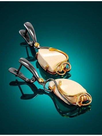 Элегантные серьги из серебра с костью мамонта «Эра», фото , изображение 2