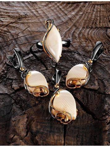 Элегантные серьги из серебра с костью мамонта «Эра», фото , изображение 4
