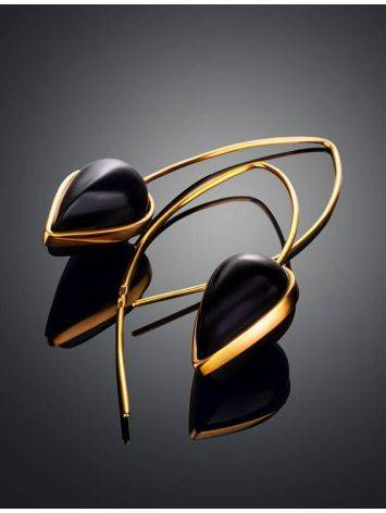 Необычные серьги из позолоченного серебра и тёмно-вишнёвого янтаря  «Импульс», фото , изображение 2