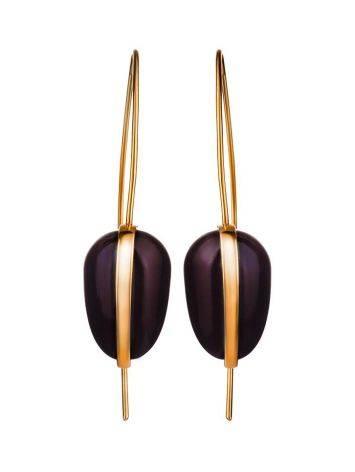 Необычные серьги из позолоченного серебра и тёмно-вишнёвого янтаря  «Импульс», фото , изображение 3