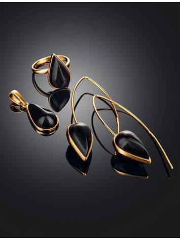 Необычные серьги из позолоченного серебра и тёмно-вишнёвого янтаря  «Импульс», фото , изображение 5