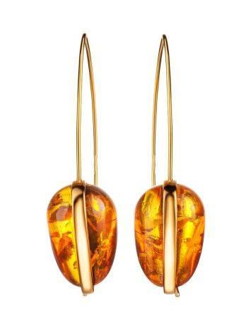 Оригинальные серьги-крючки из позолоченного серебра и золотистого янтаря «Импульс», фото , изображение 4