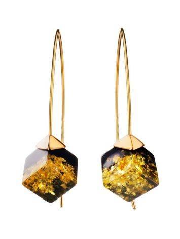 Модные серьги-крючки из позолоченного серебра и зелёного янтаря «Рафинад», фото , изображение 4