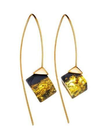 Модные серьги-крючки из позолоченного серебра и зелёного янтаря «Рафинад», фото