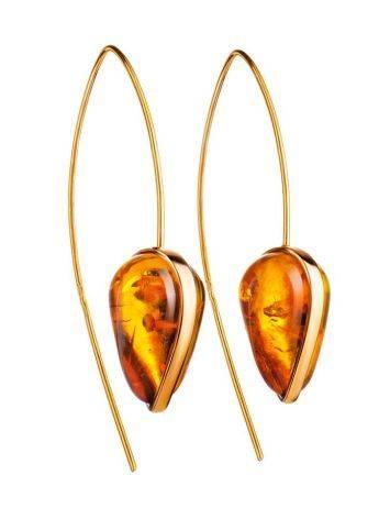 Оригинальные серьги-крючки из позолоченного серебра и золотистого янтаря «Импульс», фото
