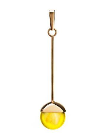 Оригинальная подвеска из позолоченного серебра и натурального лимонного янтаря «Париж», фото